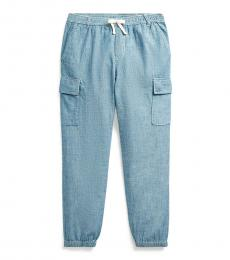 Ralph Lauren Girls Indigo Chambray Cargo Pants