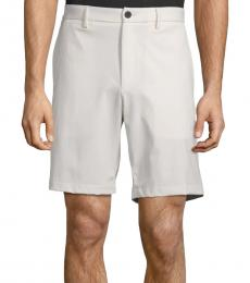 Theory Off White Flat-Front Walking Shorts