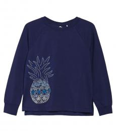 Navy Blue Embroidered Sweatshirt