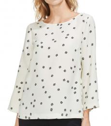 Vince Camuto White Floral Side Button Top