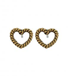 Marc Jacobs Antique Gold Heart Charm Stud Earrings