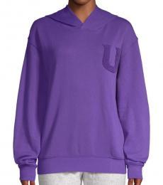 UGG Purple Fuzzy Logo Hooded Sweatshirt
