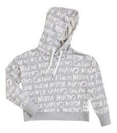 Calvin Klein Light Grey Brush Logo Cropped Hoodie