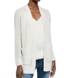 Michael Kors White Waffle Texture Sweater Cardigan