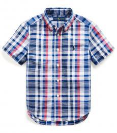 Ralph Lauren Little Boys Red/White Multi Madras Shirt
