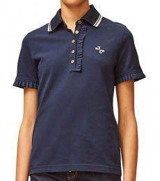 Tory Burch Navy Blue Ruffle Polo Tee