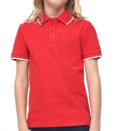 Calvin Klein Little Boys Racing Red Pique Polo
