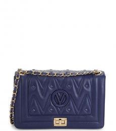 Mario Valentino Midnight Blue Aliced Quilted Medium Shoulder Bag