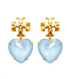 Tory Burch Light Blue-Gold Heart Earrings