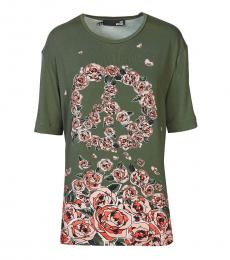 Love Moschino Green Graphic Print Top