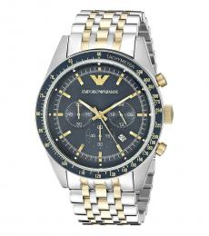 Emporio Armani Silver Gold Blue Dial Watch