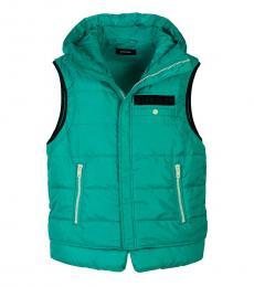 Diesel Dark Green Sleeveless Zipper Vest