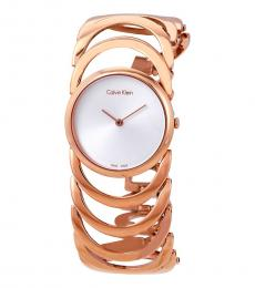 Calvin Klein Rose Gold Silver Dial Watch