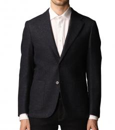 Fay Navy Blue Single-Breasted Wool Jacket