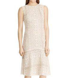 Ralph Lauren White Lace Embroidered Midi Dress