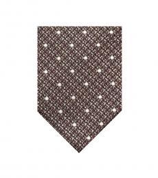 Tom Ford Brown Copper Weave Polka Dot Tie