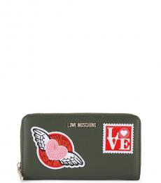 Love Moschino Green Stamp Applique Wallet