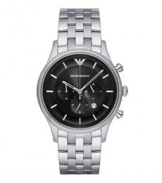 Emporio Armani Silver Black Dial Watch