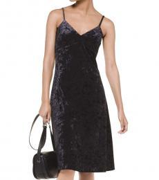 Black Crushed Velvet Slip Dress