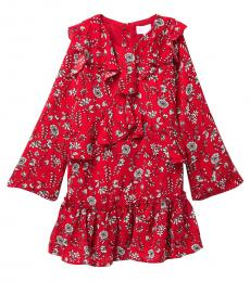 Girls Bright Red Floral Crepe Ruffle Dress