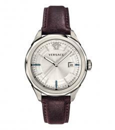 Versace Brown Silver Logo Watch