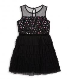 BCBGirls Girls Black Mesh Sequined Dress