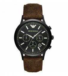 Emporio Armani Brown Chronograph Black Dial Watch