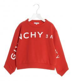 Givenchy Girls Red Logo Address Sweatshirt
