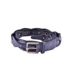 Dolce & Gabbana Black Braided Leather Belt