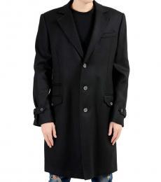 Just Cavalli Black Wool Button Coat