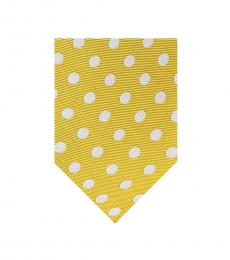 Canali Yellow & Grey Polka Dot Silk Tie