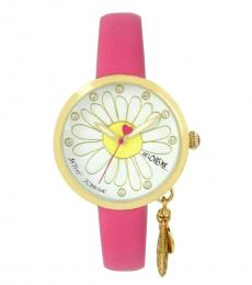 Betsey Johnson Pink Leaf Dangle Charm Watch