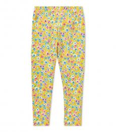 Ralph Lauren Little Girls Yellow Floral Leggings