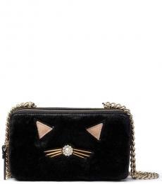 Black Cat Pouf Small Crossbody