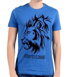 Roberto Cavalli Blue Lion Logo T-Shirt