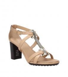 Beige Vintage Leather Heels