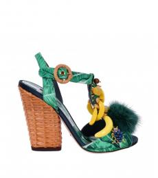Dolce & Gabbana Green Botanical Print Heels