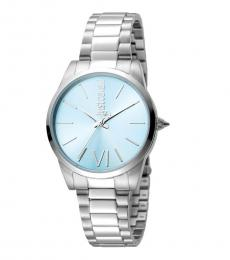 Just Cavalli Silver Relaxed Blue Dial