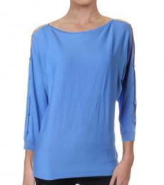 Ralph Lauren Blue Cut-Out Pullover Sweater