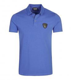Emporio Armani Blue Solid Logo Polo
