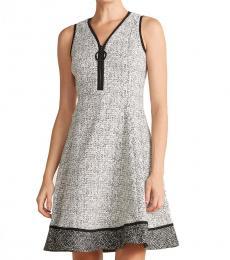 DKNY BlackWhite Half Zip Skater Dress