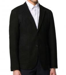 Black Geometric Knit Blazer
