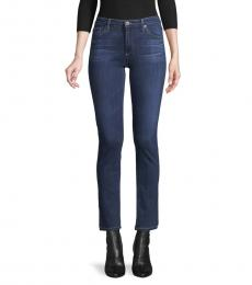 AG Adriano Goldschmied Blue Buttoned Mid-Rise Jeans