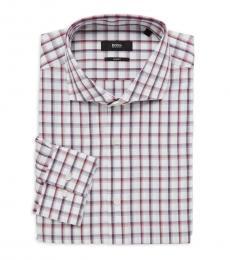 Dark Pink Jason Slim-Fit Plaid Dress Shirt