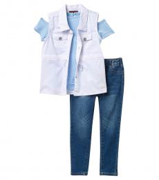7 For All Mankind 3 Piece Vest/Top/Jeans Set (Little Girls)