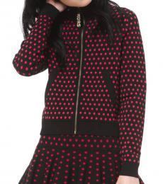 Michael Kors Black Polka Dot Zip-Up Sweater