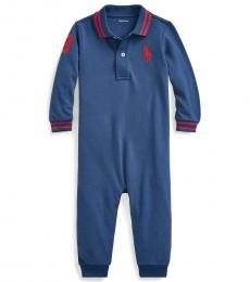 Ralph Lauren Baby Boys Federal Blue Mesh Coverall