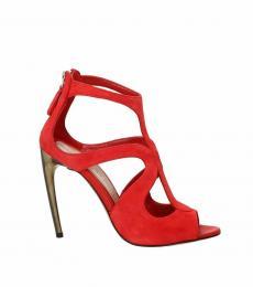 Red Back Zip Suede Heels