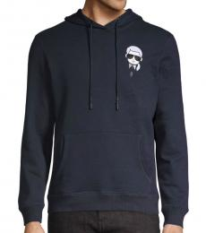 Karl Lagerfeld Navy Graphic Cotton-Blend Hoodie