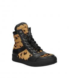 Balmain Black Leopard Print Hi Top Sneakers